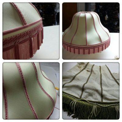 Ein Lampenschirm - vorher grün und nachher ein Traum in Rosé.