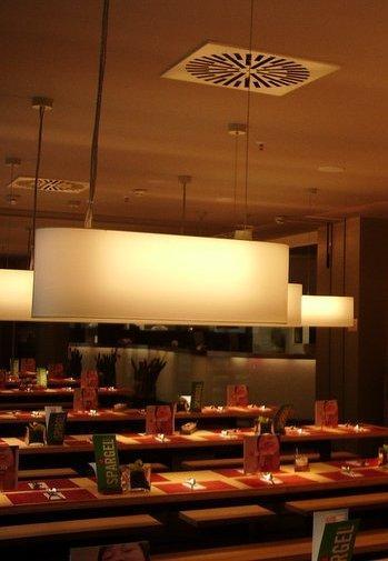 Die Lampenschirme verbreiten eine Atomsphäre zum Wohlfühlen.