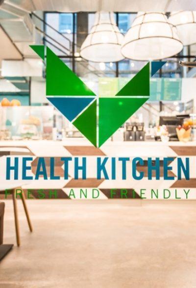 Health Kitchen auf dem UKE Gelände in Hamburg mit originell anmutenden Lampenschirmen aus der Lampenschirmwerkstatt Barten.