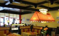 Lampenschirme mit bedruckten Materialien für dieses Restaurant in Stade.